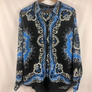 Tops - Scarf Print Button Up Blouse